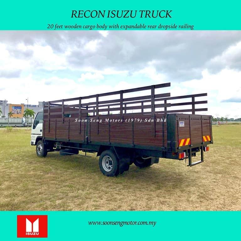 rear view for wooden body Isuzu truck